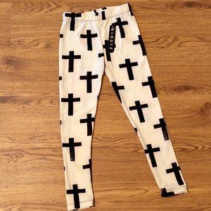 Girls Cross Printed Leggings